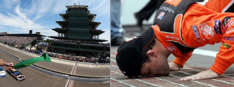 Indianapolis Speedway and Tony Stewart Kissing the Bricks